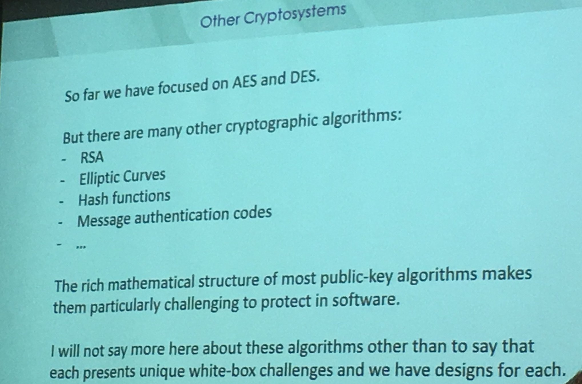 other cryptosystems